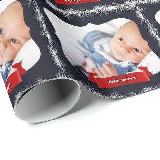Papel de embrulho azul da foto do bebê do floco de