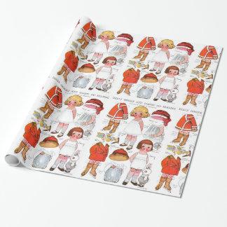 Papel de embrulho de papel das bonecas do natal