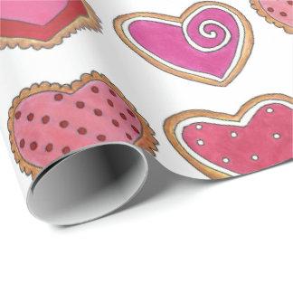 Papel de embrulho dos biscoitos dos corações do