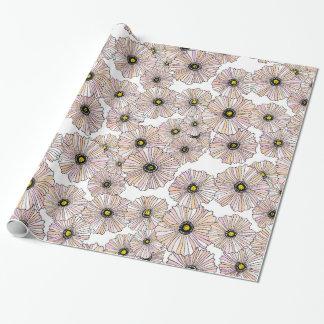 Papel de embrulho floral das papoilas Pastel