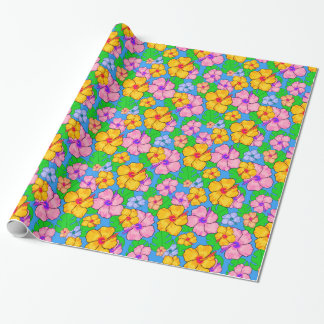 Papel de embrulho floral do hibiscus colorido
