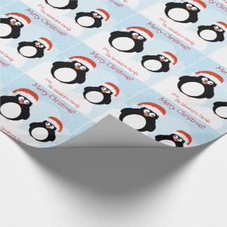 Papel de embrulho personalizado do pinguim do