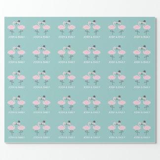 Papel de embrulho personalizado noivos do flamingo