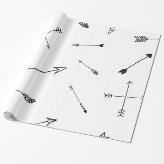 Papel de embrulho preto e branco da seta