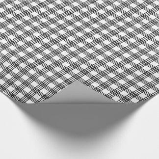 Papel de embrulho preto e branco da xadrez da