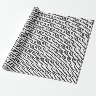 Papel de embrulho preto e branco geométrico