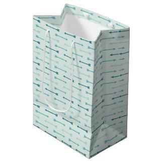 Papel de embrulho - setas da cerceta (2) sacola para presentes média