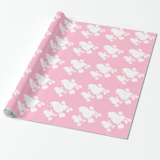 Papel de envolvimento cor-de-rosa da caniche papel de presente