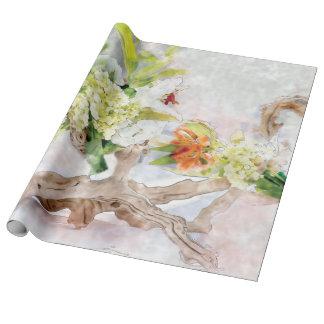 Papel de envolvimento de linho da aguarela de papel de presente