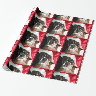 Papel de envolvimento do cão do pugilista do Natal Papel De Presente