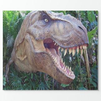 Papel de envolvimento lustroso do dinossauro para papel de presente