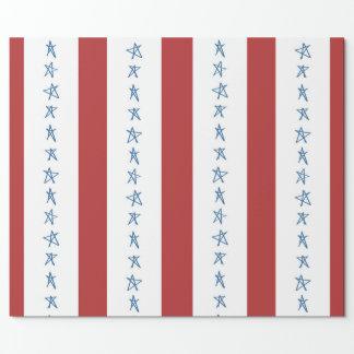 Papel de envolvimento patriótico da bandeira dos papel de presente