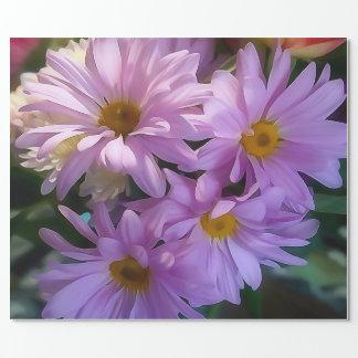 Papel de envolvimento roxo do buquê da flor papel de presente