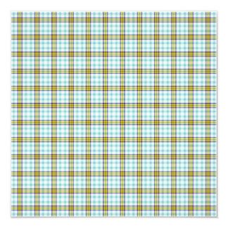 Papel de fundo azul e amarelo da xadrez convite quadrado 13.35 x 13.35cm