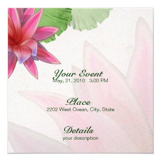 Papel de linho 5,25 x 5,25 do convite cor-de-rosa