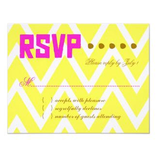 Papel de linho amarelo do PALM BEACH RSVP Chevron Convites Personalizados