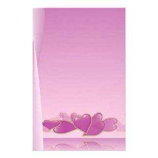 Papel de nota cor-de-rosa do coração papel personalizado