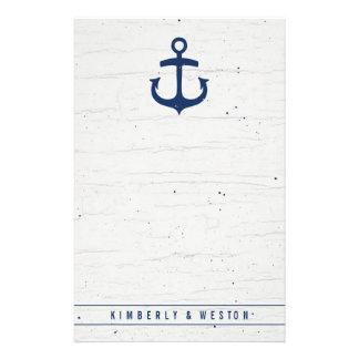 Papel de nota do casamento/marinho náuticos papelaria
