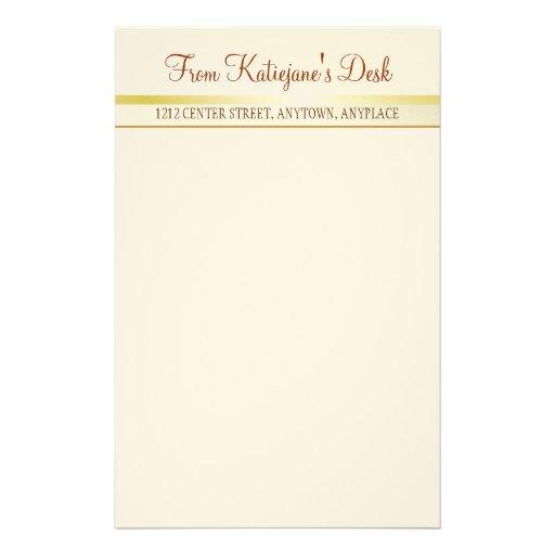 Papel de nota elegante do ouro papelaria