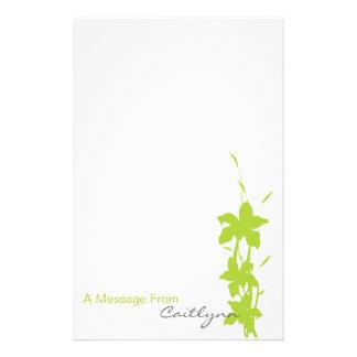 Papel de nota floral do verde limão papel personalizados