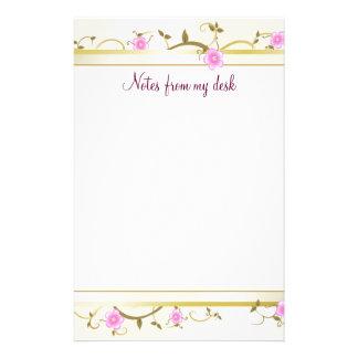 Papel de nota floral elegante papelaria