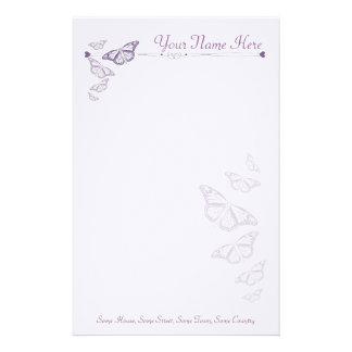 Papel de nota personalizado borboleta da ameixa papelaria