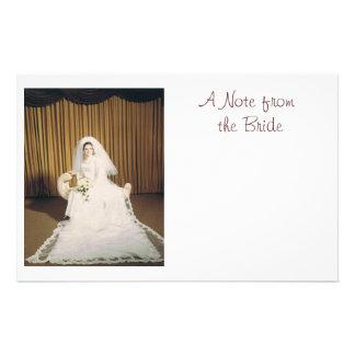 Papel de nota retro da noiva papelaria