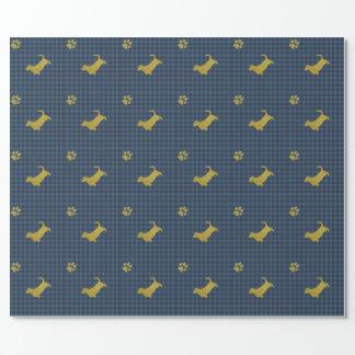 Papel de papel de embrulho azul da pata do cão de