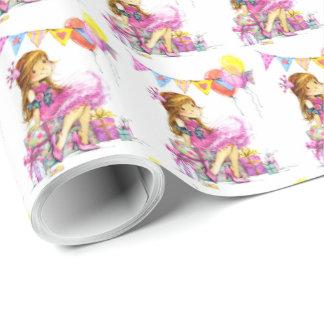 Papel de papel de embrulho bonito da menina