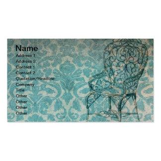 Papel de parede do vintage com cadeira cartão de visita