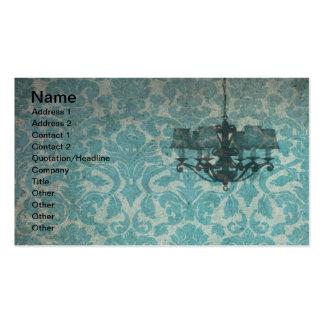 Papel de parede e candelabro do vintage cartão de visita