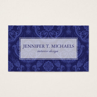 Papel de parede floral azul luxuoso do damasco cartão de visitas