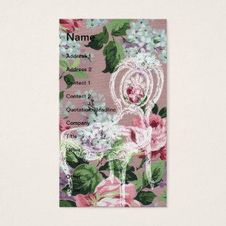 Papel de parede floral do vintage com cadeira cartão de visitas