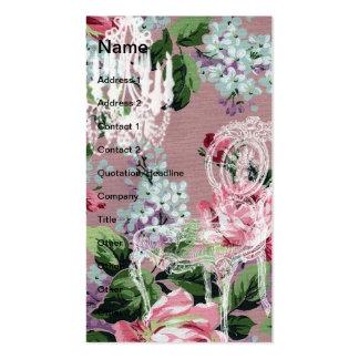 Papel de parede floral do vintage com cadeira e cartão de visita
