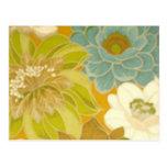 Papel de parede floral do vintage, verde de turque cartões postais