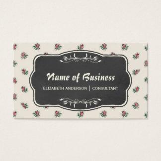 Papel de parede floral e quadro do vintage do rosa cartão de visitas