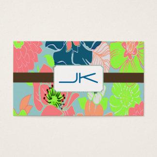 Papel de parede floral retro do cartão de visita