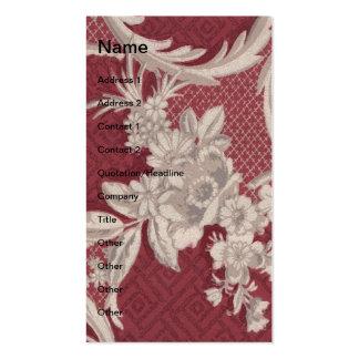 Papel de parede floral vermelho do vintage cartão de visita