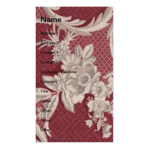 Papel de parede floral vermelho do vintage cartao de visita