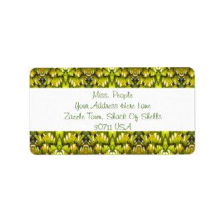 Papel de parede retro do amarelo e da verde azeito etiqueta de endereço