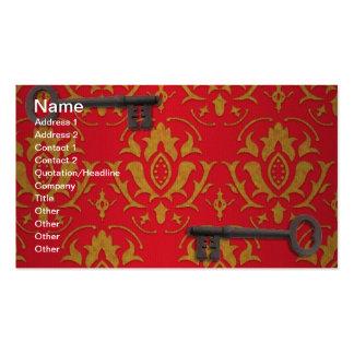 Papel de parede vermelho e chaves do vintage cartão de visita