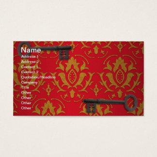Papel de parede vermelho e chaves do vintage cartão de visitas