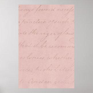 Papel de pergaminho cor-de-rosa do Colonial do Poster
