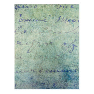 Papel de pergaminho francês azul do roteiro do cartão postal