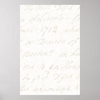 papel de pergaminho inglês do marfim do roteiro do pôster