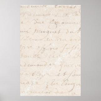 papel de pergaminho retro francês do roteiro do pôster