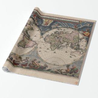Papel De Presente 1600s antigos do mapa do mundo