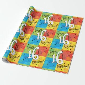 Papel De Presente 16o aniversário feliz colorido