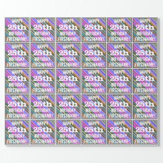 Papel De Presente 25o aniversário vibrante, colorido + Nome feito