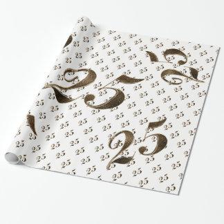 Papel De Presente 25o Tipografia do aniversário de casamento de